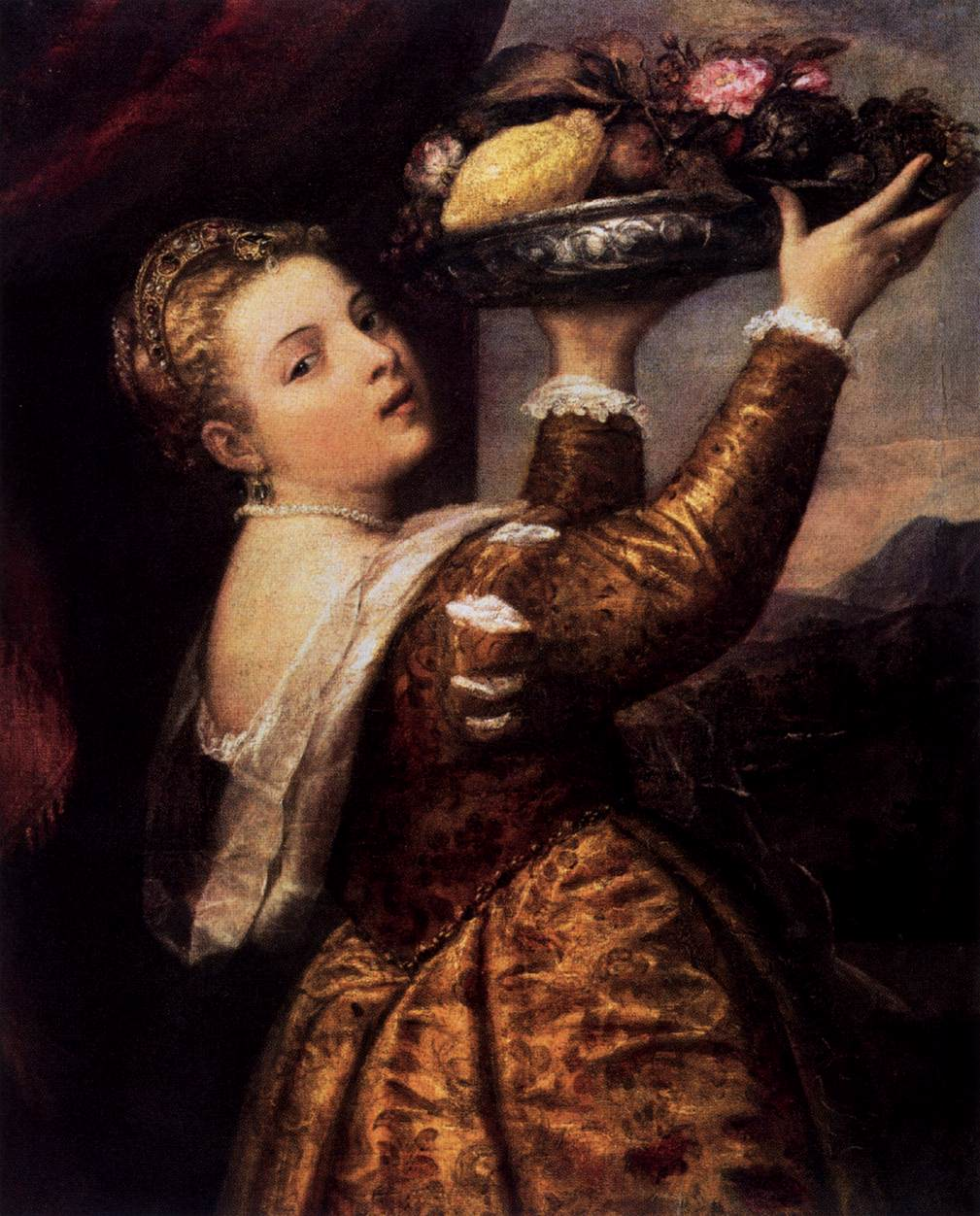 Young Woman with a Dish of Fruit
