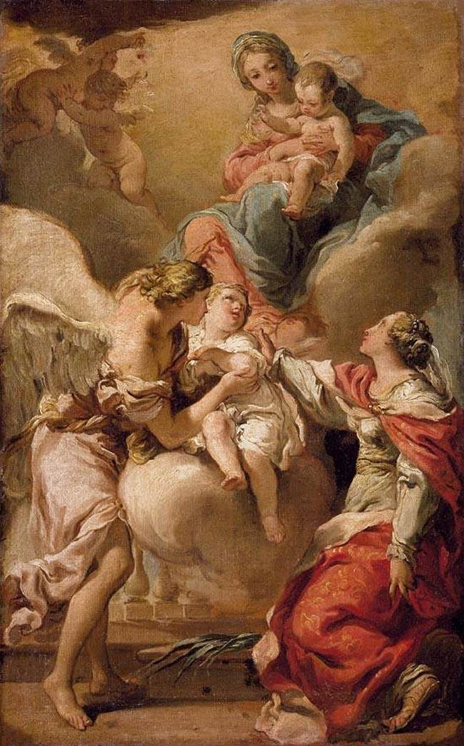 St Giustina and the Guardian Angel Commending the Soul of an Infant to the Madonna and Child