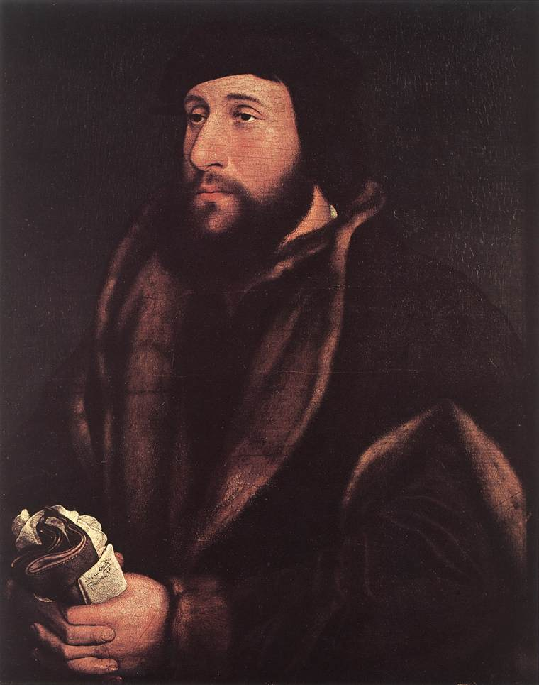 Portrait of a Man Holding Gloves and Letter