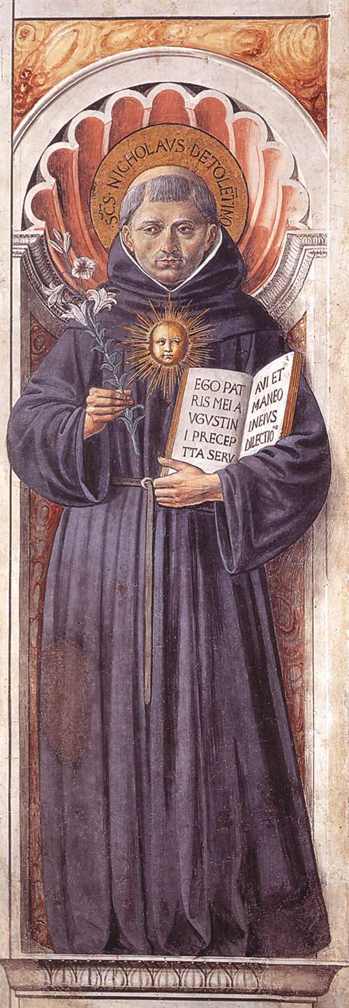 St Nicholas of Tolentino (on the pillar)