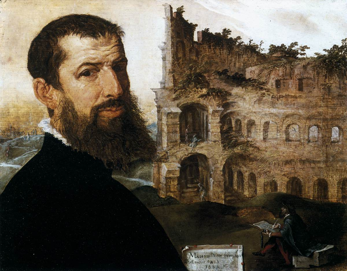 Self-Portrait in Rome with the Colosseum