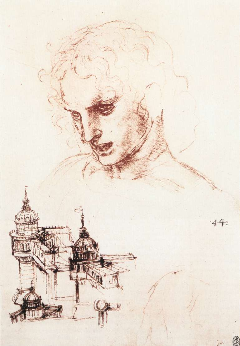 Study of an apostle's head and architectural study