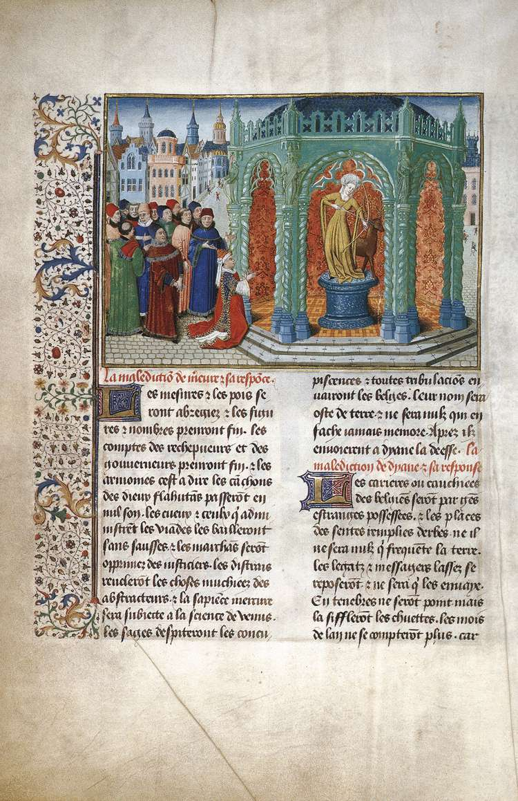 The Goddess Diana, page from the Chroniques de Hainaut