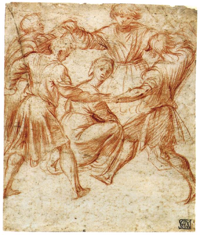 Young Men Dancing around a Woman