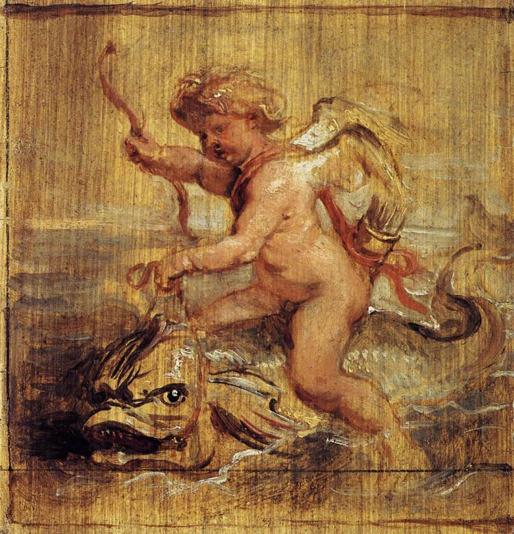 Cupid Riding a Dolphin