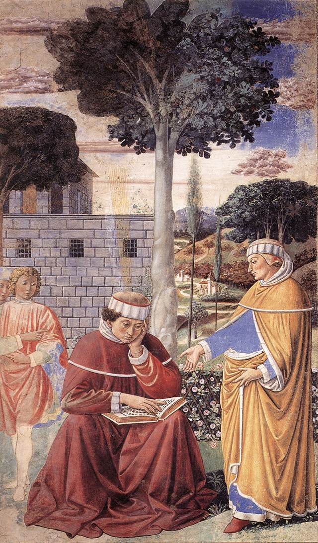 St Augustine Reading the Epistle of St Paul (scene 10, east wall)