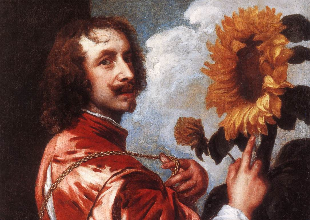 Self-portrait with a Sunflower