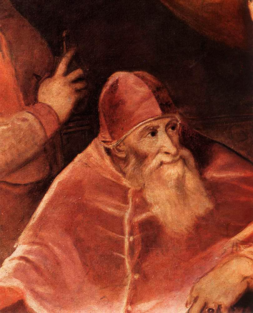 Pope Paul III with his Grandsons Alessandro and Ottavio Farnese (detail)