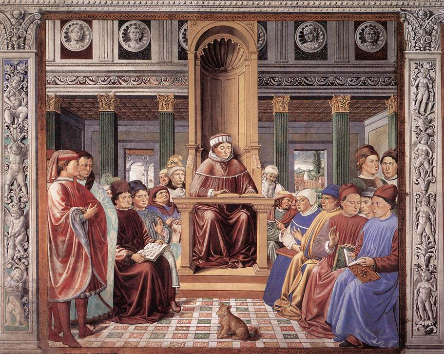 St Augustine Teaching in Rome (scene 6, south wall)