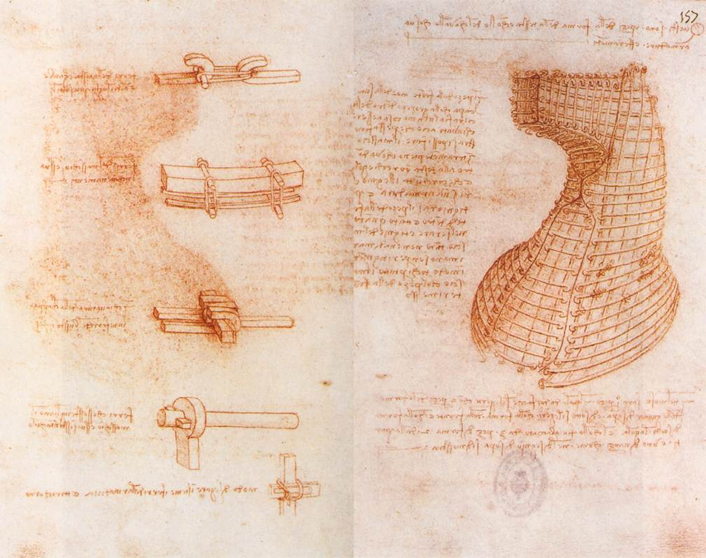 Double manuscript page on the Sforza monument