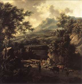 Mountain Scene with Herd of Cattle