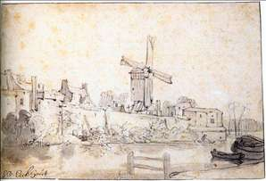 The City Walls of Delft with the Mill Called The Rose