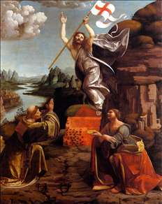 Resurrection of Christ with Sts Leonardo and Lucy