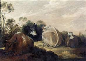 Cattle Resting in a Dune Landscape