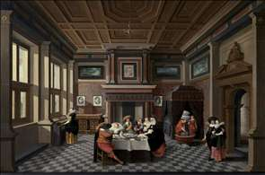 An Interior with Ladies and Gentlemen Dining