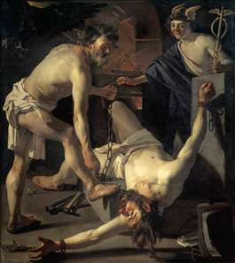 Prometheus Being Chained by Vulcan