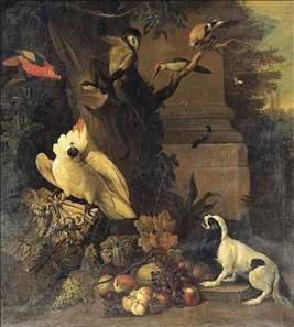 A Monkey, a Dog and Various Birds in a Landscape