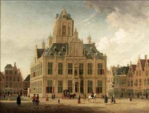 Delft: A View of the Town Hall Seen from the Grote Markt