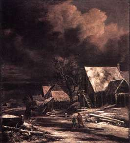Village at Winter at Moonlight