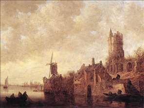 River Landscape with a Windmill and a Ruined Castle
