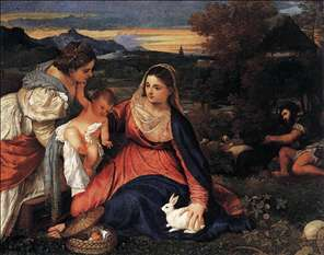 Madonna and Child with St Catherine and a Rabbit