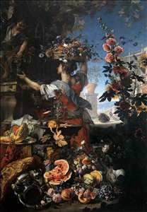 Flowers, Fruit with a Woman Picking Grapes