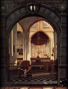 Interior of the Oude Kerk, Delft, Seen through a Stone Archway