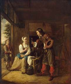 Man Offering a Glass of Wine to a Woman