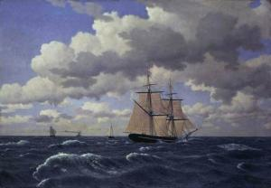 A Brig under Sail in Fair Weather