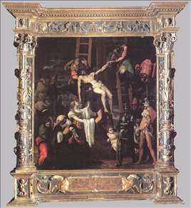 Descent from the Cross (with original frame)