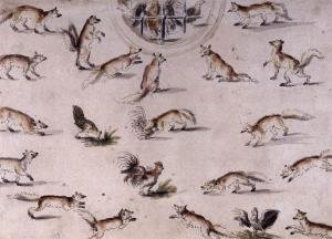 Study for a wall decoration with foxes and chickens