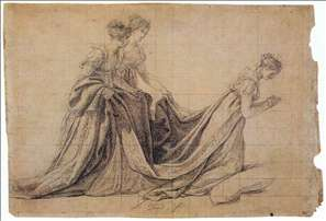 The Empress Josephine Kneeling with Mme de la Rochefoucauld and Mme de la Valette