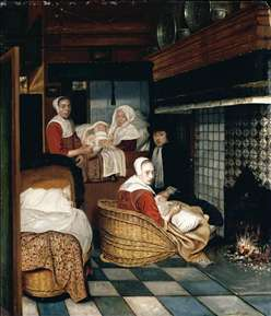 Interior with a Family and Two Nurses before a Fire