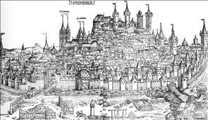 Nuremberg Chronicle, Page 100: View of the city of Nuremberg