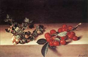 Cherries and Gooseberries on a Table