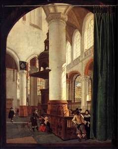 Interior of the Oude Kerk, Delft, with the Pulpit of 1548