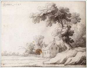 Landscape with a Tall Tree on the Right