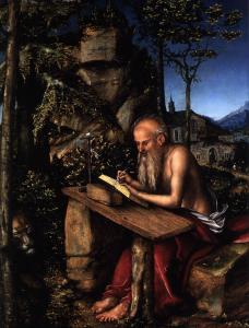 St Jerome Writing in a Landscape (detail)