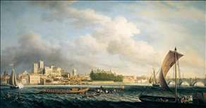 The Thames at Westminster Bridge with Barges