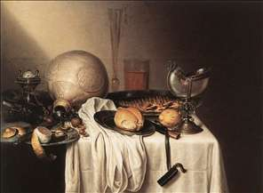 Still-Life with a Bearded Man Crock and a Nautilus Shell Cup