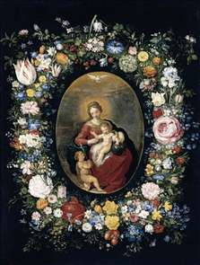 Virgin and Child with Infant St John in a Garland of Flowers