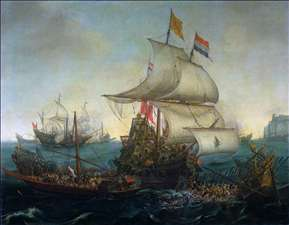Dutch Ships Ramming Spanish Galleys off the Flemish Coast in October 1602