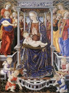 Madonna and Child Enthroned with Music-Making Angels
