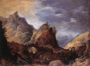 Mountain Scene with Bridges