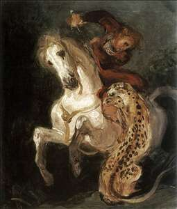 Jaguar Attacking a Horseman
