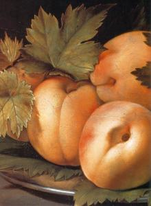 Metal Plate with Peaches and Vine Leaves (detail)