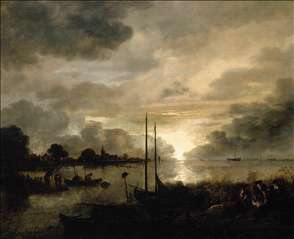 Estuary Landscape by Moonlight