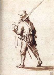 Walking Musketeer Seen from Behind