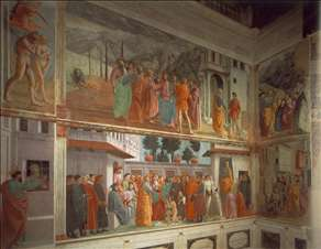 Frescoes in the Cappella Brancacci (left view)