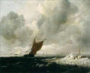 Stormy Sea with Sailing Boats